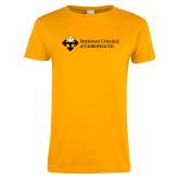 Ladies Gold T Shirt-College Logo