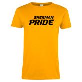 Ladies Gold T Shirt-Sherman Pride