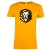Ladies Gold T Shirt-Larry Lion Distressed