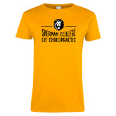 Ladies Gold T Shirt-Sherman College of Chiropractic with Lion