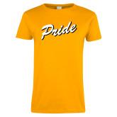 Ladies Gold T Shirt-Pride Script