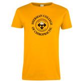 Ladies Gold T Shirt-Sherman Arrows in College Name Ring