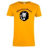Ladies Gold T Shirt-Hashtag Sherman Pride