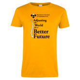 Ladies Gold T Shirt-Adjusting the World for a Better Future
