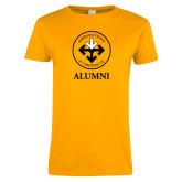 Ladies Gold T Shirt-Alumni with Seal