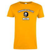 Ladies Gold T Shirt-Mom with Lion