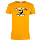 Ladies Gold T Shirt-Grandma with Lion