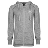 ENZA Ladies Grey/Black Marled Full Zip Hoodie-Seal