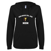 ENZA Ladies Black V Notch Raw Edge Fleece Hoodie-Mom with Lion