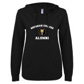 ENZA Ladies Black V Notch Raw Edge Fleece Hoodie-Alumni with Lion