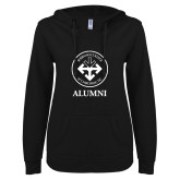ENZA Ladies Black V Notch Raw Edge Fleece Hoodie-Alumni with Seal