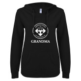 ENZA Ladies Black V Notch Raw Edge Fleece Hoodie-Grandma with Seal