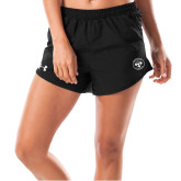Ladies Under Armour Fly By Black Shorts-Seal