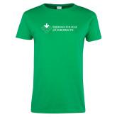 Ladies Kelly Green T Shirt-College Logo