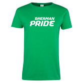 Ladies Kelly Green T Shirt-Sherman Pride