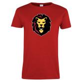 Ladies Red T Shirt-Larry Lion