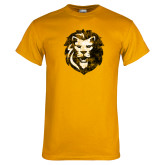 Gold T Shirt-Larry Lion Distressed