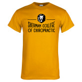 Gold T Shirt-Sherman College of Chiropractic with Lion