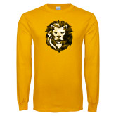 Gold Long Sleeve T Shirt-Larry Lion Distressed