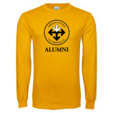 Gold Long Sleeve T Shirt-Alumni with Seal