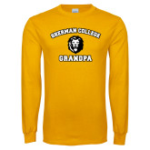 Gold Long Sleeve T Shirt-Grandpa with Lion