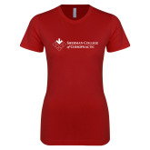 Next Level Ladies SoftStyle Junior Fitted Cardinal Tee-College Logo
