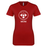 Next Level Ladies SoftStyle Junior Fitted Cardinal Tee-Mom with Seal