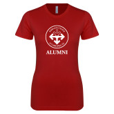 Next Level Ladies SoftStyle Junior Fitted Cardinal Tee-Alumni with Seal