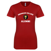 Next Level Ladies SoftStyle Junior Fitted Cardinal Tee-Alumni with Lion