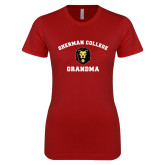 Next Level Ladies SoftStyle Junior Fitted Cardinal Tee-Grandma with Lion