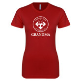 Next Level Ladies SoftStyle Junior Fitted Cardinal Tee-Grandma with Seal
