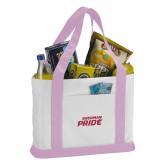 Contender White/Pink Canvas Tote-Sherman Pride