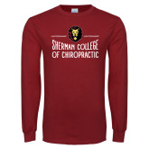 Cardinal Long Sleeve T Shirt-Sherman College of Chiropractic with Lion