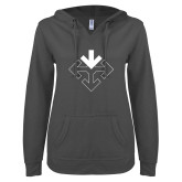ENZA Ladies Dark Heather V Notch Raw Edge Fleece Hoodie-Sherman Arrows