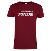 Ladies Cardinal T Shirt-Sherman Pride Distressed