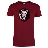 Ladies Cardinal T Shirt-Larry Lion Distressed