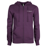 ENZA Ladies Purple Fleece Full Zip Hoodie-College Logo