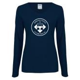 Ladies Navy Long Sleeve V Neck Tee-Seal