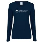 Ladies Navy Long Sleeve V Neck Tee-College Logo