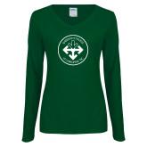 Ladies Dark Green Long Sleeve V Neck Tee-Seal