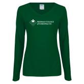 Ladies Dark Green Long Sleeve V Neck Tee-College Logo