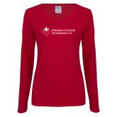 Ladies Cardinal Long Sleeve V Neck Tee-College Logo