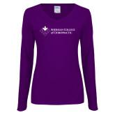 Ladies Purple Long Sleeve V Neck Tee-College Logo
