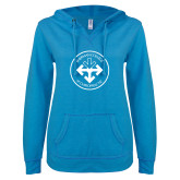 ENZA Ladies Pacific Blue V Notch Raw Edge Fleece Hoodie-Seal