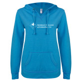 ENZA Ladies Pacific Blue V Notch Raw Edge Fleece Hoodie-College Logo