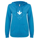 ENZA Ladies Pacific Blue V Notch Raw Edge Fleece Hoodie-Sherman Arrows