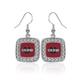 Crystal Studded Square Pendant Silver Dangle Earrings-Shaw U