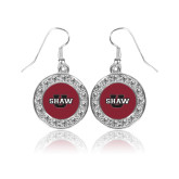 Crystal Studded Round Pendant Silver Dangle Earrings-Shaw U