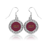 Crystal Studded Round Pendant Silver Dangle Earrings-Shaw University Stacked Logo