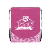 Nylon Zebra Pink/White Patterned Drawstring Backpack-Shaw University Primary